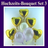 Hochzeits-Bouquet, Set 3, Luftballons Hochzeit, goldene Folienballon-Herzluftballons mit Rund-Luftballons Perlmutt, inklusive Ballongas-Helium