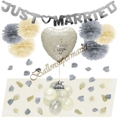 With Love on your Wedding Day Deko-Set zur Hochzeit in Silber und Creme