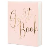 Handgemachtes Gästebuch, puderrosa mit roségoldener Aufschrift