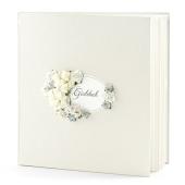 Hochzeit Gästebuch, créme mit Rosen