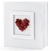 Hochzeit Gästebuch, weiß mit Rosenherz in Rot