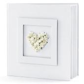 Hochzeit Gästebuch, weiß mit Rosenherz in Weiß