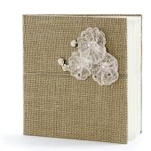 Hochzeit Gästebuch, Vintage mit Spitze und Rosen in Altrosa