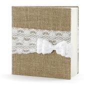Hochzeit Gästebuch, Vintage mit Schleife aus Spitze