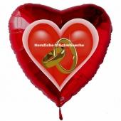 Hochzeitsballon, Luftballon zur Hochzeit, roter Herzballon mit Trauringen, Herzliche Glückwünsche