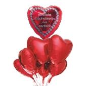 Hochzeits-Bouquet Herzliche Glückwünsche zur Hochzeit, Luftballons aus Folie mit Ballongas-Helium zur Hochzeit, Hochzeitsdekoration