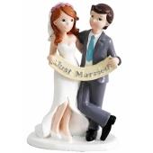 Hochzeitspaar mit Just Married Banner, Figur