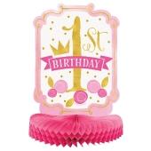 Honigwaben-Tischdeko 1st Birthday Pink & Gold zum 1. Geburtstag