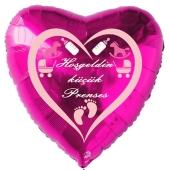 """Herzluftballon in Pink, 45 cm """"Hoşgeldin küçük Prenses"""""""