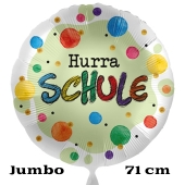 Hurra Schule. Großer Satin-Weißer Luftballon mit Helium