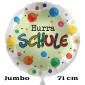 Hurra Schule. Großer Satin-Weißer Luftballon ohne Helium