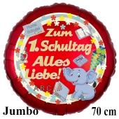 Hurra Schule! Zum 1. Schultag Alles Liebe! 70 cm roter, blauer Luftballon mit Ballongas Helium gefüllt zur Einschulung, zum Schulanfang