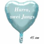 Hurra, zwei Jungs Luftballon. 45 cm inklusive Helium