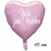 Hurra, zwei Mädchen Luftballon. 45 cm inklusive Helium