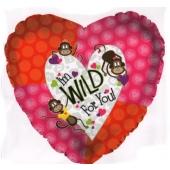I'm wild for you, Luftballon der großen Leidenschaft und Liebe, Herzballon aus Folie mit Helium