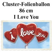 I Love you Herz-Cluster-Folienballon mit Helium