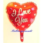 I Love You Luftballon mit herzen, Folienballon mit Ballongas Helium