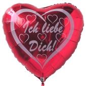 Ich liebe dich, Herzluftballon aus Folie mit weißen Herzchen inklusive Helium