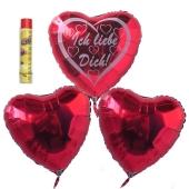 Ich liebe dich, schwebende Helium Luftballons, Bouquet 14, inklusive Heliumdose