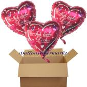 ich liebe dich herzluftballons mit helium, 3 stück ballons zum versand im karton