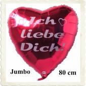Riesiger, roter Herzballon mit Helium, Ich liebe Dich!