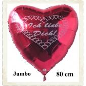 Großer, roter Herzluftballon aus Folie mit Herzchen, Ich liebe Dich!