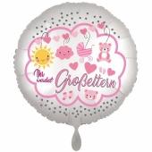 Ihr werdet Großeltern, Girl, Luftballon aus Folie, 43 cm, Satine de Luxe, weiß