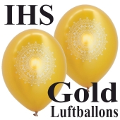 IHS Luftballons, Gold-Metallic, zu Konfirmation und Kommunion