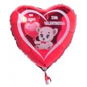 In Liebe zum Valentinstag, roter Herz-Luftballon aus Folie mit Helium Ballongas, Liebesgrüße, Ballongrüße