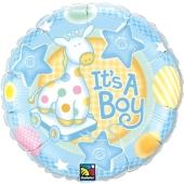 It's a Boy Rundluftballon zu Babyparty, Geburt und Taufe ohne Helium
