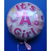 Luftballon mit Helium zu Geburt und Taufe eines Mädchens: It's a Girl