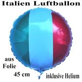 Italien Luftballon, Folienballon 45 cm mit den Italienfarben, Ballon mit Helium-Ballongas