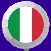 Italienische Flagge Luftballon aus Folie mit Helium-Ballongas, weißer Rundballon