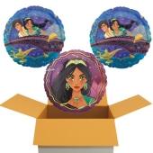 Jasmin & Aladdin, 3 Luftballons aus Folie, 45 cm, mit Helium