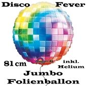 Jumbo Folienballon Partydeko Disco, Mottoparty 70er, Ballon inklusive Helium und Heliumdose zum Nachfüllen