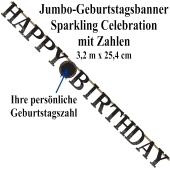 Jumbo-Geburtstagsbanner Sparkling Celebration Birthday mit Zahlen zum Ei