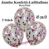 Jumbo Konfetti-Luftballons 45 cm, Transparent mit rosafarbenem und pinkfarbenem Konfetti gefüllt, 3 Stück