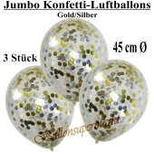 Jumbo Konfetti-Luftballons 45 cm, Transparent mit goldenem und silbernem Konfetti gefüllt, 3 Stück