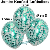 Jumbo Konfetti-Luftballons 45 cm, Transparent mit türkisem Konfetti gefüllt, 3 Stück
