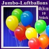 Jumbo Luftballons 40 cm x 36 cm, große Latex-Rundballons, 10 Stück