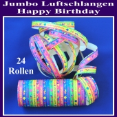 Jumbo Luftschlangen Happy Birthday 24 Rollen