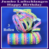 Jumbo Luftschlangen Happy Birthday 3 Rollen