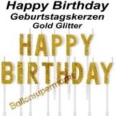 Happy Birthday Geburtstagskerzen, Gold Glitzer, Buchstabenkerzen