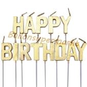 Happy Birthday Geburtstagskerzen, gold, Buchstabenkerzen