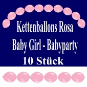 Kettenballons Baby Girl, Rosa, Babyparty Dekoration