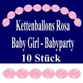 Kettenballons Baby Girl, Rosa, Babyparty Dekoration