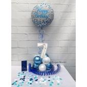 Tischdekoration, Luftballon Zahl 7, Luftschlangen, Konfetti und Servietten