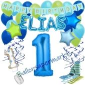 Personalisiertes Dekorations-Set mit Ballons zum 1. Geburtstag, Happy Birthday Blau, 38 Teile