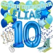Personalisiertes Dekorations-Set mit Ballons zum 10. Geburtstag, Happy Birthday Blau, 38 Teile