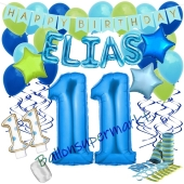 Personalisiertes Dekorations-Set mit Ballons zum 11. Geburtstag, Happy Birthday Blau, 38 Teile